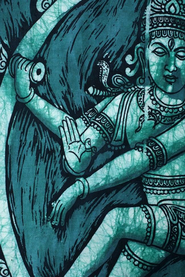 [小サイズ]バティック染めのタペストリー風神様布 - ナタラジ(ダンシングシヴァ)[約50x85cm]の写真3 - 柄の拡大です