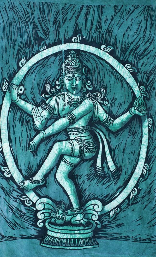 [小サイズ]バティック染めのタペストリー風神様布 - ナタラジ(ダンシングシヴァ)[約50x85cm]の写真