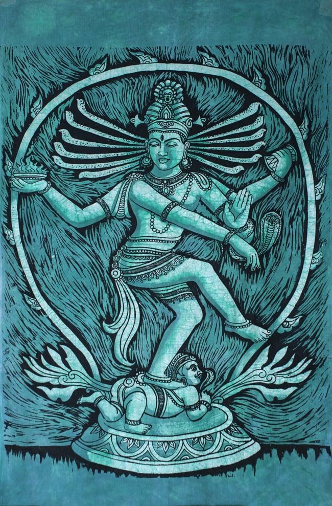 [大サイズ]バティック染めのタペストリー風神様布 - ナタラジ(ダンシングシヴァ)[約85x130cm]の写真