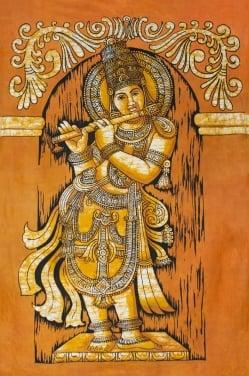 [大サイズ]バティック染めのタペストリー風神様布 - クリシュナ[約85x130cm]
