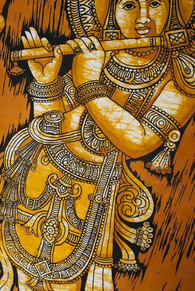 [大サイズ]バティック染めのタペストリー風神様布 - クリシュナ[約85x130cm]の写真3 - 柄の拡大です