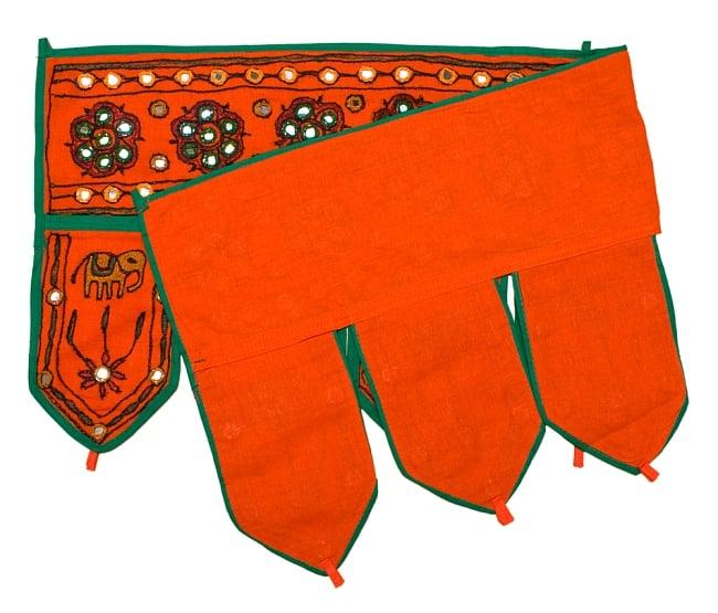 インドの飾りのれん 【花・象】 オレンジ アソートの写真4 - 裏面はこのような感じになっております
