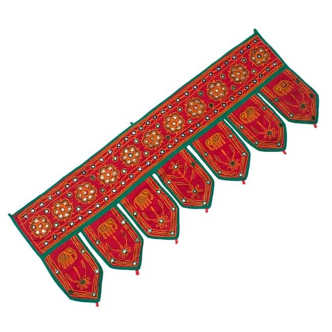 インドの飾りのれん 【花・象】 赤 アソートの写真