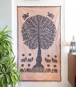 生命の樹のタペストリー -  ピンクベージュ 大(104cm)