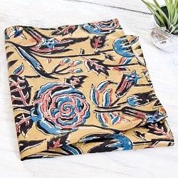 昔ながらの木版染め伝統模様布ハンカチ - イエロー