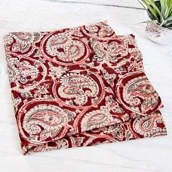 昔ながらの木版染め伝統模様布ハンカチブラウン