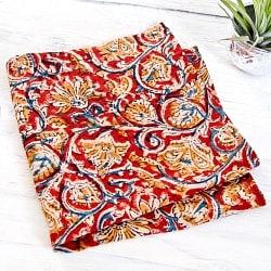昔ながらの木版染め伝統模様布ハンカチレッド×イエロー×ブルー