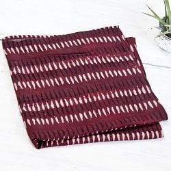 昔ながらの木版染め伝統模様布ハンカチ - レッド