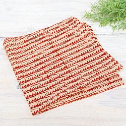 昔ながらの木版染め伝統模様布ハンカチ - ベージュ×レッド