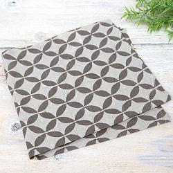 昔ながらの木版染め伝統模様布ハンカチ - グレー