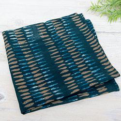 昔ながらの木版染め伝統模様布ハンカチ - シーグリーン