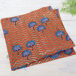 昔ながらの木版染め伝統模様布ハンカチ - オレンジ
