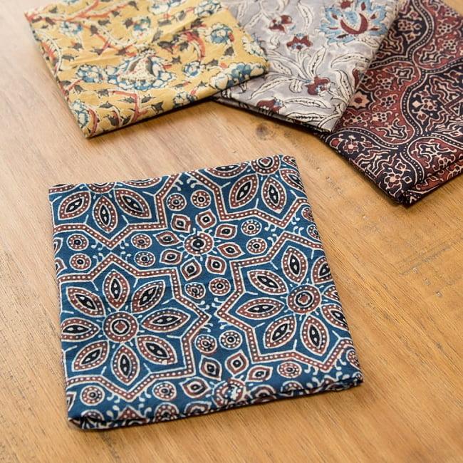 昔ながらの木版染め伝統模様布ハンカチ - マスタード 5 - 他にもカラーがございます。日替わりで揃えたくなる可愛さです^^