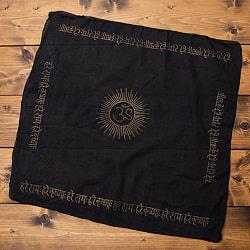 インドの木盤染めハンカチ   OM  ブラック