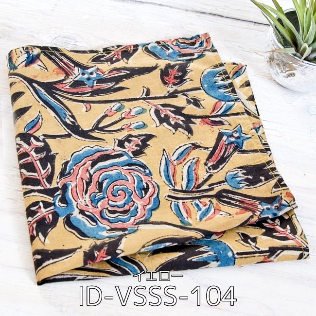 【選べる4個セット・1000円ポッキリ】昔ながらの木版染め伝統模様布ハンカチ 2 - 昔ながらの木版染め伝統模様布ハンカチ - イエロー(ID-VSSS-104)の写真です