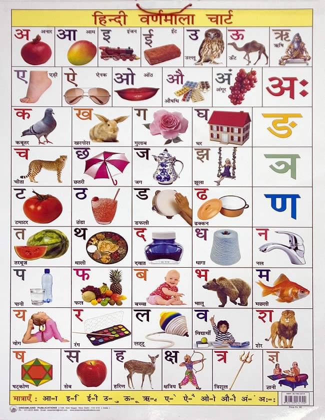 インドの学習ポスター - デーヴァナーガリーの学習[中]の写真