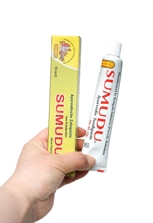 スリランカのアーユルヴェーダ歯磨き粉 - スムドゥ (SUMUDU) 【SIDDHALEPA】の写真2 - 手に持ってみました。ちょっと磨いてみたいなんて方にもちょうどいい大きさですね。スパイスとハーブの爽やかな香りが素敵で、ああ、歯磨き粉って感じがします。