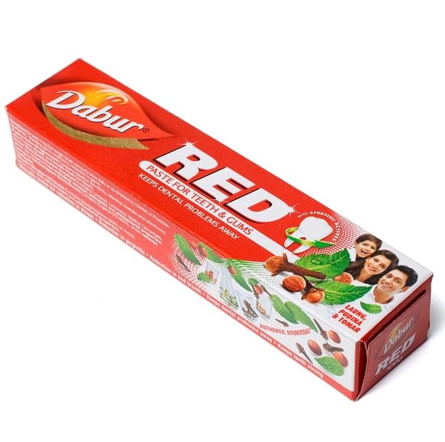 RED - アーユルヴェーダ歯磨き【Dabur】の写真4 - パッケージはこんな感じです。このパッケージでお届けします