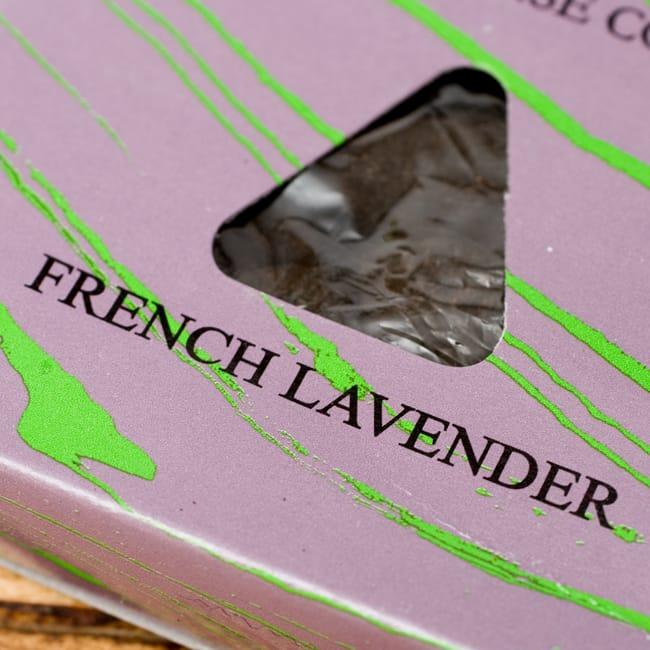 ラベンダー[FRENCH LAVENDER]の香り-オウロシカコーン香 2 - オウロシカオリジナルの模様箱です。こちらに香名が記載されています。