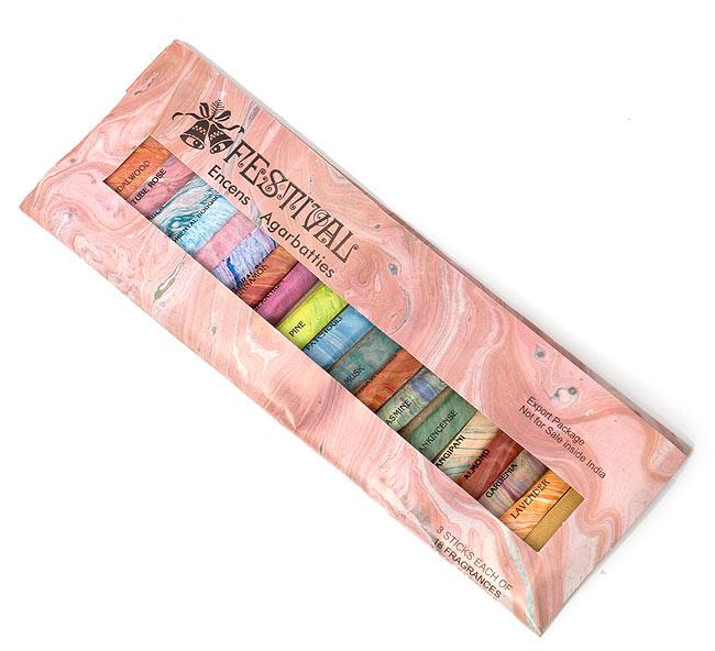 18種類のお香セット - FESTIVAL 4 - このような包装でお送りします。
