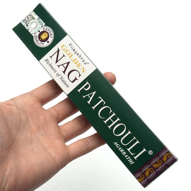 Golden Nag Patchouli香の写真3 - サイズはこんな感じ。一般的なお香のサイズです