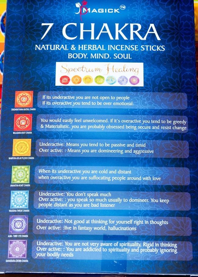 7チャクラ香セットボックス 心と身体に安らぎを - 7 CHAKRA Natural & Herbal Incence Sticks 3 - それぞれのチャクラが一覧になっています