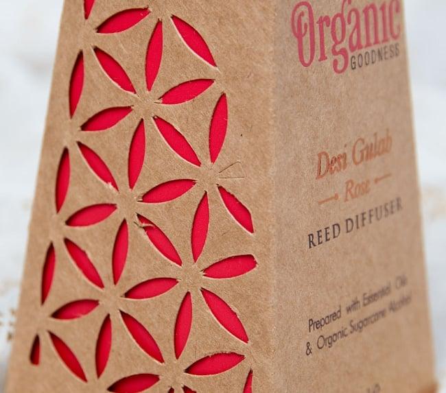 Organic GOODNESS - リード・ディフューザー -Desi Gulab - ローズ 4 - パッケージはマンダラ模様の切れ込みデザイン入り
