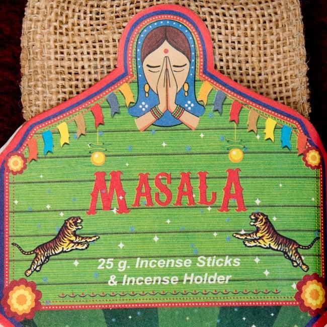 Great Indian Incense - MASALA - ジンジャー&スパイス 3 - ラベルの部分のアップです。ナマステの女性がインドらしいですね