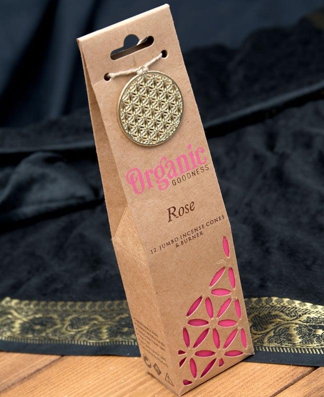 お香立つきオーガニックコーン香ギフトセット - ローズ 2 - パッケージの全体写真です