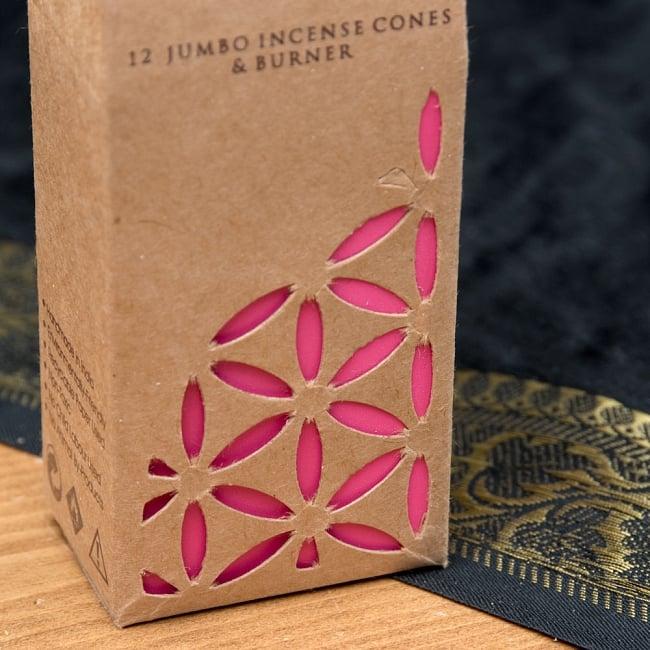 お香立つきオーガニックコーン香ギフトセット - ローズ 4 - おしゃれにデザインされたパッケージの拡大です