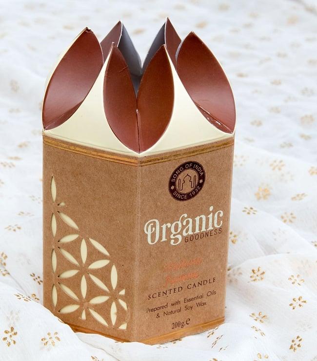フレグランスキャンドル・ギフトセット - ORGANIC GOODNESS  - マドゥライ・ジャスミン 6 - 蓮の花のように開く美しいデザインのパッケージです