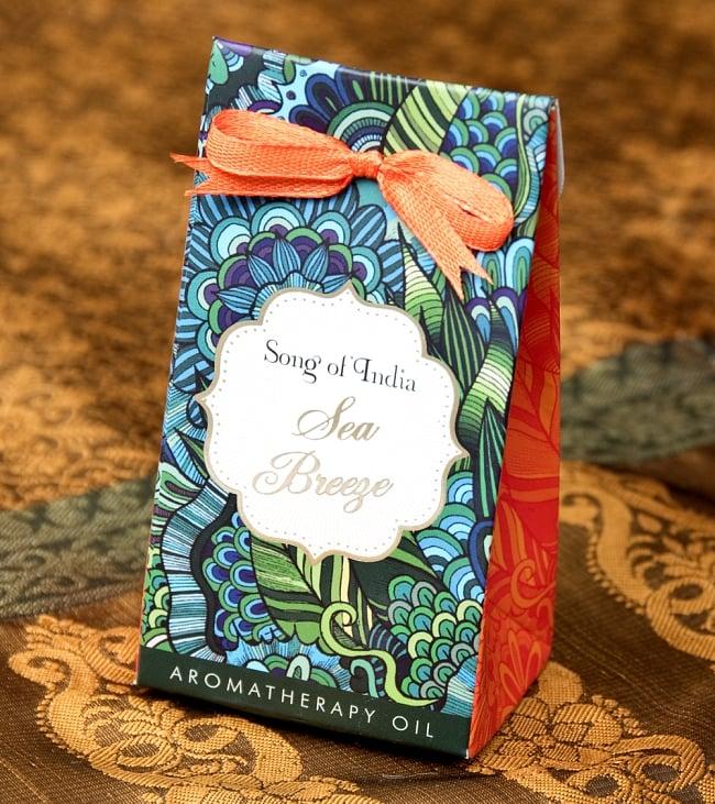 Song of India アロマオイル - シーブリーズ 2 - パッケージを撮影してみました。とっても可愛いデザインでとっておきたくなってしまいます。