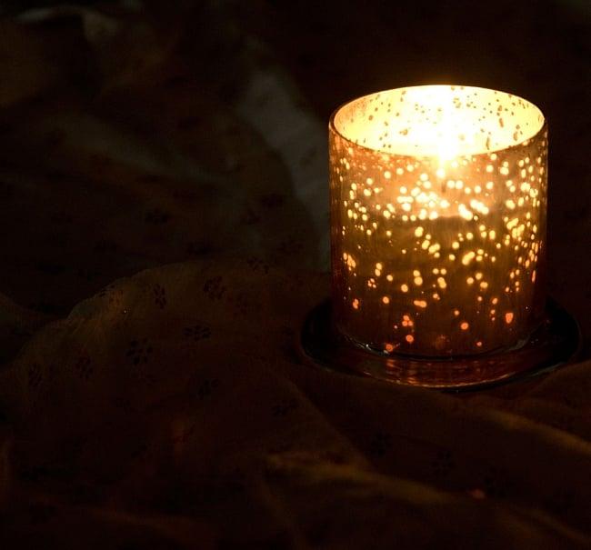 銀色のガラスボウル・キャンドル - ラベンダー 4 - 火を灯すと、きらめく星空のようです