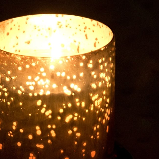 銀色のガラスボウル・キャンドル - 海辺の風 2 - 火を灯すと、きらめく星空のようです