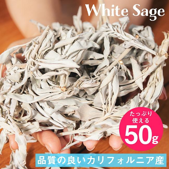 カリフォルニア ホワイトセージ 無農薬 葉っぱ&枝付きバルク 50gの写真