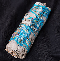 カリフォルニア ホワイトセージ 青い花つき 無農薬 ワンド バンドル スティック [10cm  25g程度]