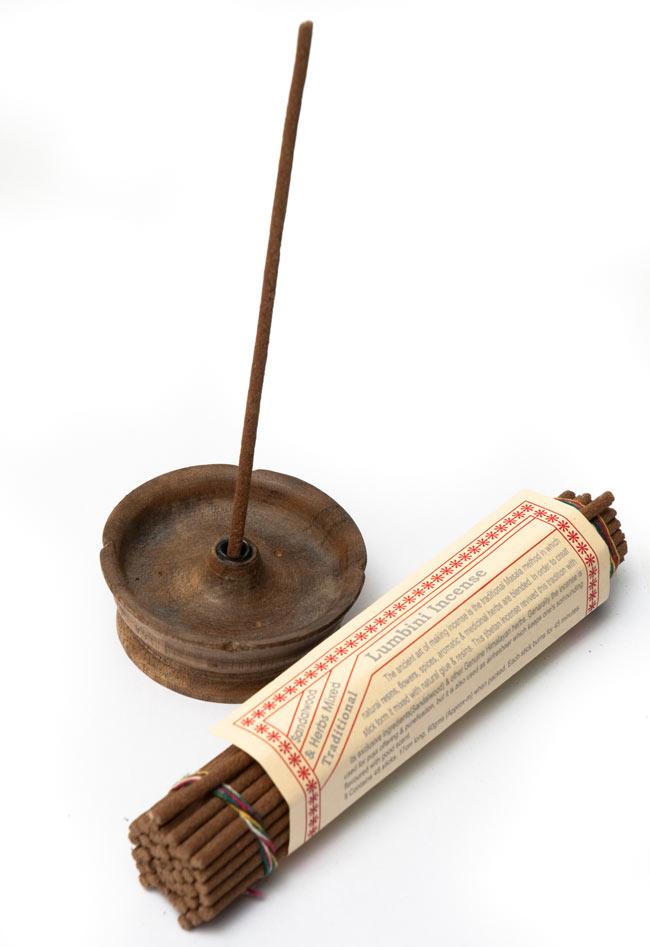 ネパール香立て - 大・灰皿付の写真 - チベット香を挿して写真を撮ってみました。^セットで購入:IND-INSHLD-417,IND-INS-455^