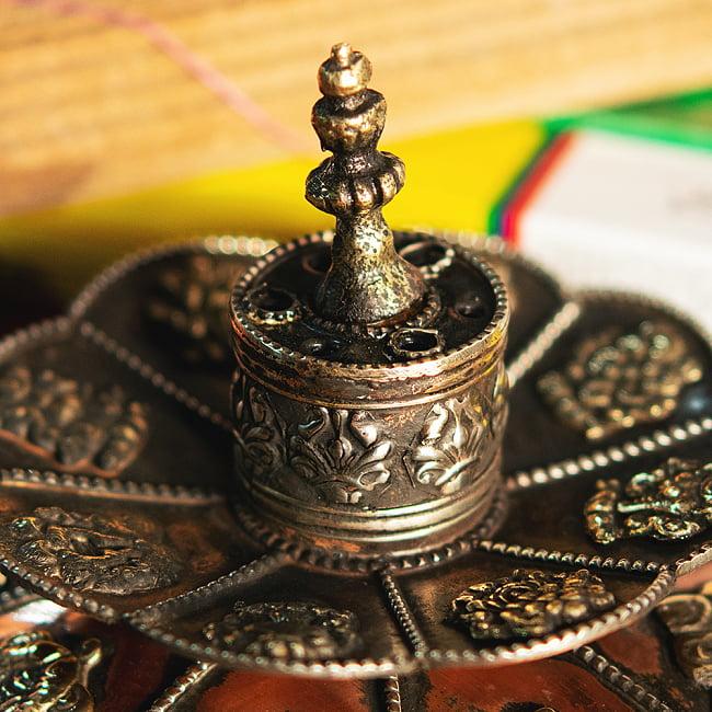 チベット香用蓮型お香立て【約12cm×約9cm】の写真5 - 裏面です