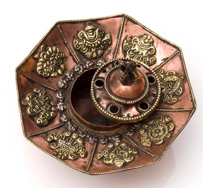 チベット香用蓮型お香立て【約13cm×約9cm】の写真4 - 頭の部分が取れます。