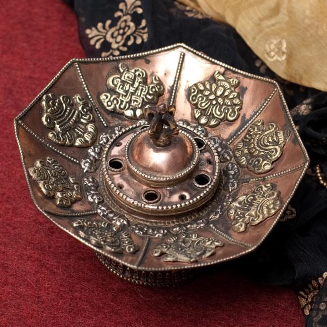 チベット香用蓮型お香立て【約13cm×約9cm】の写真
