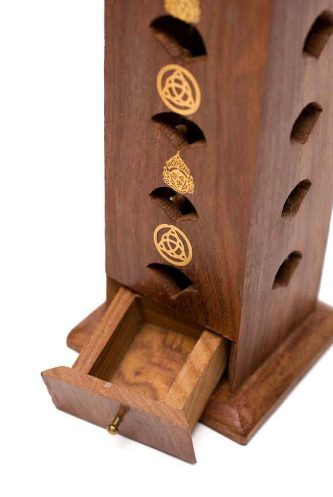 シーシャムウッド タワー型お香立て - シヴァ【縦30.5cm】 3 - こちらの引き出しが、お香の灰が溜まる場所です。