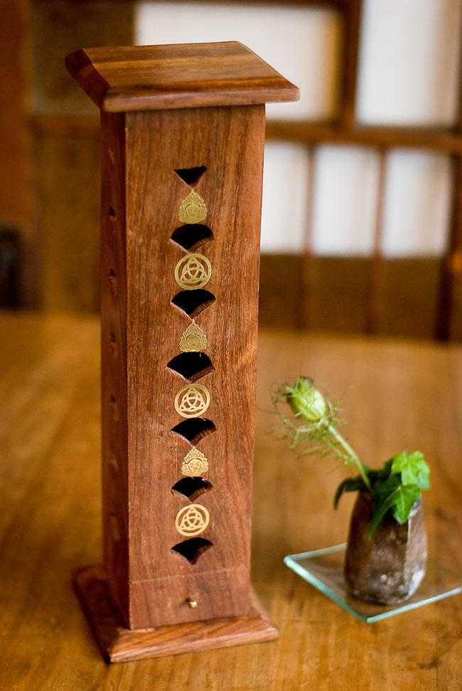 シーシャムウッド タワー型お香立て - シヴァ【縦30.5cm】の写真
