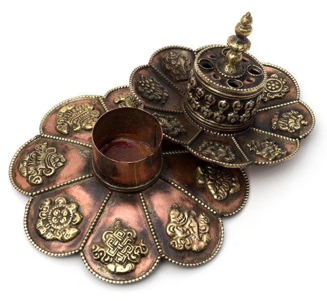 チベット香用蓮型お香立て【約12cm×約9cm】の写真4 - このように分離することが出来ます。