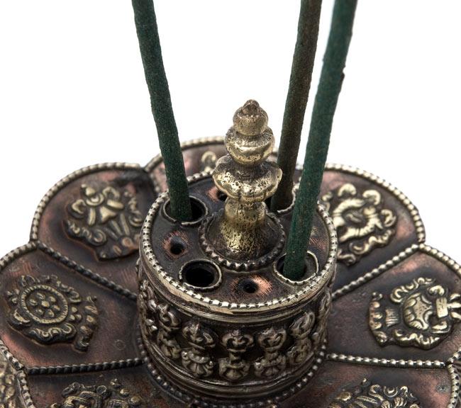 チベット香用蓮型お香立て【約12cm×約9cm】の写真6 - 拡大です