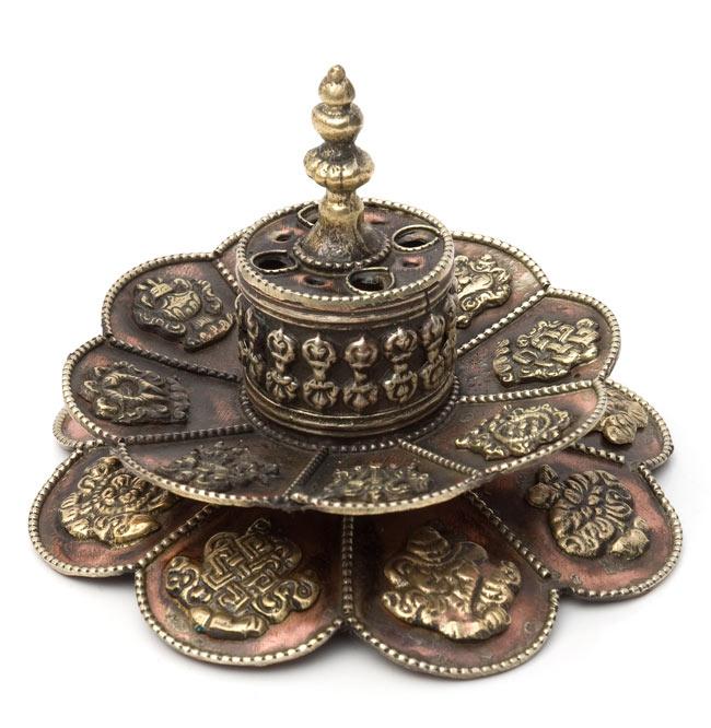 チベット香用蓮型お香立て【約12cm×約9cm】の写真