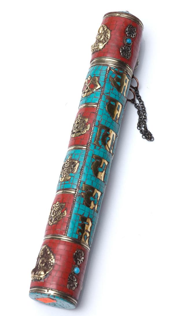 ネパールの円柱型お香箱 - [28cm x 4cm]の写真