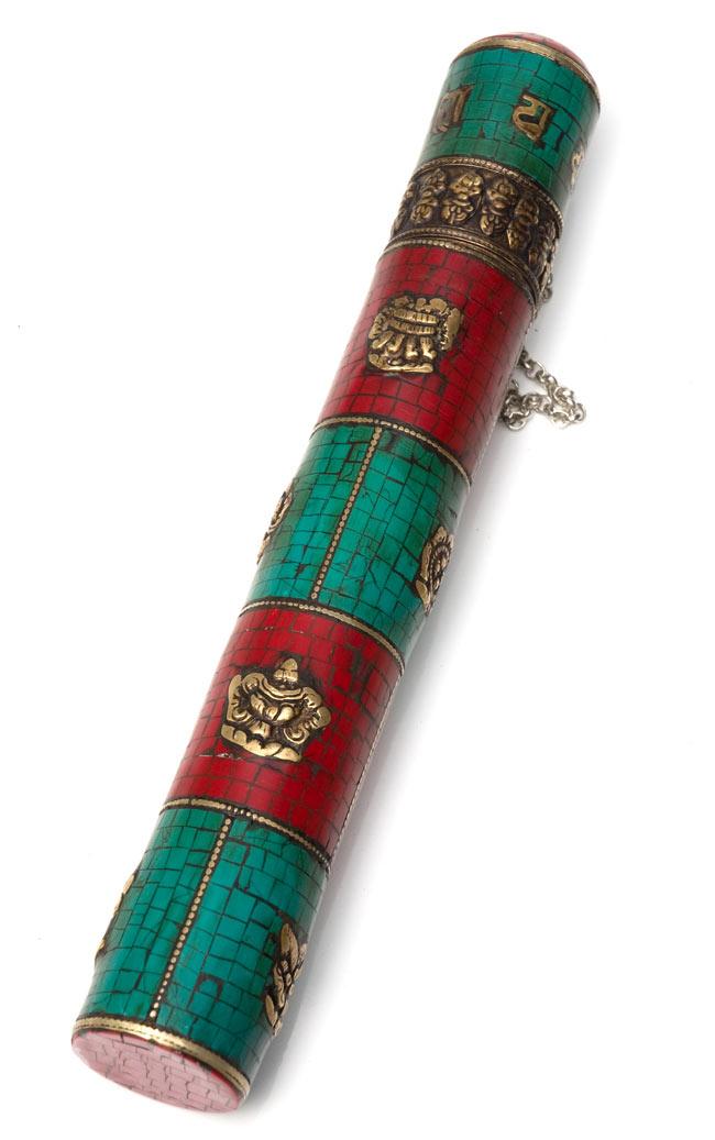 ネパールの円柱型お香箱 - [27.5cm x3.7cm]の写真