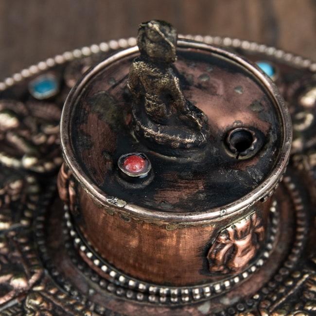 チベット香用アンティークお香立て[直径:約10.5cm] 7 - 選択1:赤