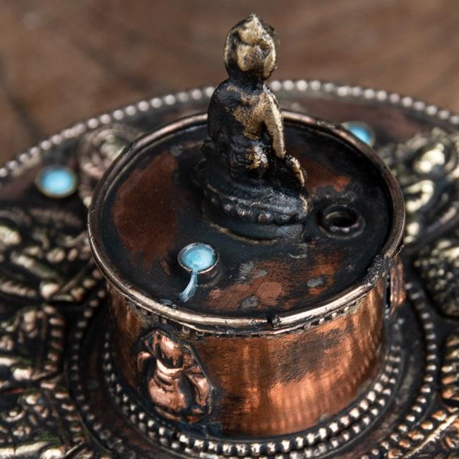 チベット香用アンティークお香立て[直径:約10.5cm] 8 - 選択2:水色