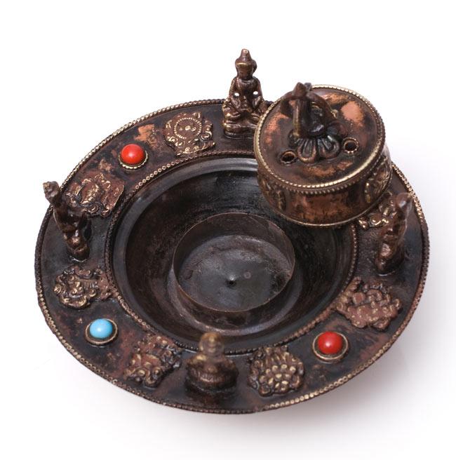 チベット香用アンティークお香立て[直径:約13.5cm]の写真6 - このように蓋を取り外して、中にコーン香を入れることが可能です.